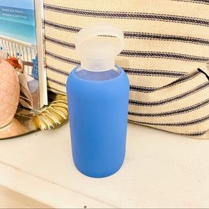 NWOT Bkr Glass Water bottle with Blue Sleeve